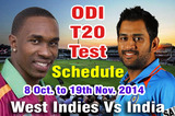 India Vs West Indies Series 2014 Live Streaming ODI T20 Test